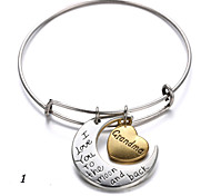 Heart and Moon I Love You to the Moon and Back Alloy Expanable Wire Bangle 1pc