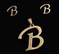 Europeus e americanos moda b letter um pingente de letras e ouvido pregos set (sem colar)