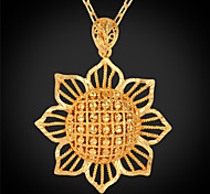 U7® Big Size Sunflowers Charms Women Jewelry Gifts 18K Real Gold Plated Cute Pendants Necklaces for Girls