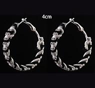 European Fashion  Black  White Fabric Double Diamond  Hoop Earrings 4cm Wedding/Party/Daily 2pcs
