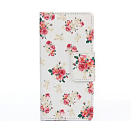 PU Painted White Flower Wallet Mobile Phone Case for Huawei P8