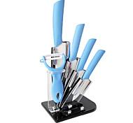 6 Pieces faca de cerâmica Conjunto com faca Holder, 3'' / 4'' / 5'' / 6'' Faca e Peeler com acrílico Titular