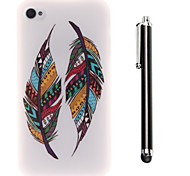 Color Double Feather Pattern TPU Soft Back and A Stylus Touch Pen for iPhone 4/4S