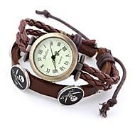 Bohemian Style Women'S Watch Vintage Woven Strap Skull Quartz Watch