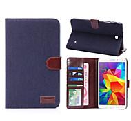 denim étui en cuir en tissu avec support&logements de carte&portefeuille pour galaxy tab 4 7.0 / T230