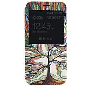 modèle d'arbre Fenêtre cas portefeuille flip pour Samsung Galaxy a3 / a8