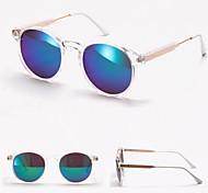 100% UV400 Round Transparent Frame Fashion Mirrored Sunglasses