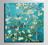azul moderno reloj de pared de estilo floral de la lona