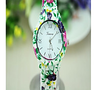 Fashion Simple Stamp Female Alloy/Plastic Cement Watch(Pink,Green,Black,Red,Blue)(1Pc)