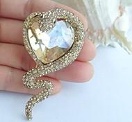 2.56 Inch Gold-tone Topaz Rhinestone Crystal Snake Brooch Art Decorations