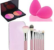 горячие 7pcs продажа / установка розовый ящик для инструмента мягкий комплект макияж кисти + 4 цвета контура пудра румяна макияж Палитра +