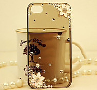Petals White Diamond Pattern Transparent Back Hard Case for iPhone4/4s (Assorted Color)