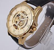 Men Luxury Automatic Mechanical Leather Band Skeleton Sport Army Wrist Watch