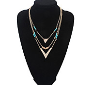 European Style Fashion Three Layers Blue Beads V Pendant Necklace