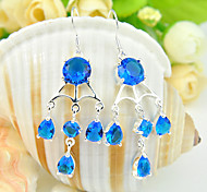Family Friend Gift Drop Round Fire Full Blue Topaz Gem 925 Silver Drop Earrings For Wedding Party Daily Holiday 1Pairs