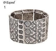 D Exceed European Gun Black Alloy Wide Women's Ethnic Carve Stretch Bracelet for Women