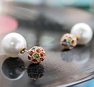 HUALUO®Full Diamond Crystal Ball Pearl Earrings
