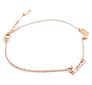 Fashion Rose Gold LOVE Heart Shape Titanium Steel Anklet
