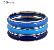 A Exceed Fashion Design Enamel Blue Alloy Multilayer Bangle Bracelet for Women