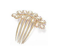 Hair Comb Pin Faux Pearl Diamante Metal Gold Prom Chic 91x90mm