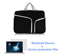 Solid Color Zipper Laptop Sleeve Handle Bag and HD Screen Flim for Macbook Retina 13.3 inch (Assorted Colors)