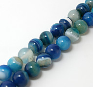 Beadia 38Cm/Str (Approx 37PCS) Natural Agate Beads 10mm Round Dyed Blue Color Stone Loose Beads DIY Accessories