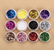 12 Colors Nail Art Glitters Foil Strip Sequins Nail Art Powder Nail Art Beads French Nail Decorations