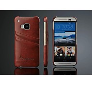 PU Leather Oil Wax Wave Back Case with Card Holder for HTC M9 (Assorted Color)