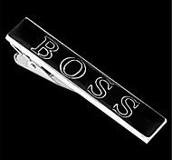 Men's Famous Brand Black Silver Wedding Suit Shirt Tie Bar Clip Clasp