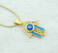 18K Golden Plated Hamsa Hand Of Fatima Evil Eye Crystal Hollow Out Pendant Necklace