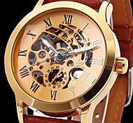 Men's Automatic Skeleton Watch Classic Roman Gold Case Leather Band