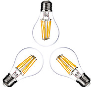 3PCS ONDENN E26/E27 6 W 6 COB 600 LM 2800-3200K K Warm White A Dimmable Globe Bulbs AC 220-240/AC 110-130 V