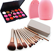 12Pcs Cosmetic Makeup Tool Eyeshadow Powder Blush Foundation Brush Set Box +15Colors Lip Gloss+1PCS Brush Cleaning Tool