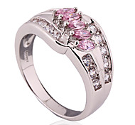 Size 6/7/8 High Quality Women Pink Sapphire Rings 10KT White Gold Filled Ring