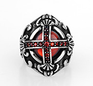 Fashion Cross Shape Titanium Steel Hot Sales New Style Ring For Mens(Black,Red)(1Pc)