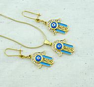 18K Golden Plated Pearl Necklace+Earrings Hamsa Hand Of Fatima Evil Eye Crystal Jewelry set
