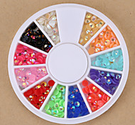 Mixed Colors Round Nail Art Beads AB Crystal Acrylic Rhinestones Glitter Nail Art Rhinestone for Nail Decorations Design