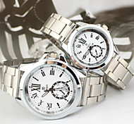 Couple's Round Case Silver Steel Band Quartz Wrist Watch