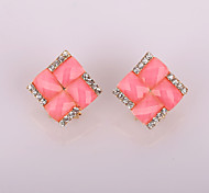New Fashion Affirmative Woven Flat Diamond Earrings  Clip Earrings Wedding/Party/Daily/Casual 2pcs