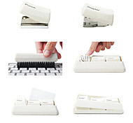 4-Piece Mini Keyboard Stationery Set Stapler Paperclips Holder Hole Punch Brush (Random Color)