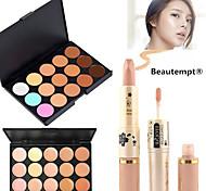 1pcs 2-Wege-Bleaching feuchtigkeitsspendende Gesichts concealer Stift&1pcs 15 Farben natürlicher Concealer Palette (2 Farbe wählen)