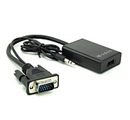 VGA Male To HDMI Output 1080P HD +Audio TV AV HDTV Video Cable Converter Adapter