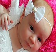 White Lace Bow , Girl Headband, Baby Girl Headband, Newborn Headband, Satin Rosette Christening