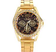 mulheres relógios mulheres relógio de ouro de cristal moda liga relógio de quartzo leopardo