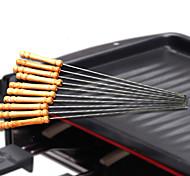 6pcs barbecue arrosto barbecue aghi spiedini manico in legno forcella in acciaio inox