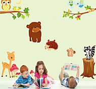 Wall Stickers Wall Decals Style Cartoon Animal General Mobilization PVC Wall Stickers