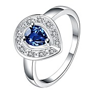 Ms Zirconium Platinum Diamond Heart-shaped RingImitation Diamond Birthstone