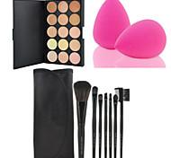 HOT SALE 7Pcs/set Black Soft Kit Makeup Brush Tool+15 Colors Contour Face Cream Makeup Concealer Palette + Powder Puff