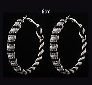 European Fashion  Black  White Fabric Three Rows Diamond  Hoop Earrings 6cm Wedding/Party/Daily 2pcs