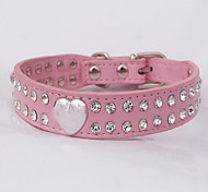 Cat / Dog Collar Rhinestone Red / Black / Pink / Orange PU Leather